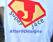 Super Hero applique shirt Any letter and name