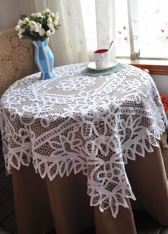 Battenburg Lace Handmade Vintage Tablecloth  47x47 inches,Square.