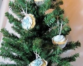 Cupcake Ornaments - 4-Pack Blue Glitter in Silver Papers