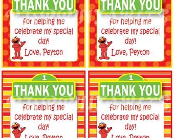 Elmo Sesame Street inspired Favor / Thank You Tags - Custom Digital File