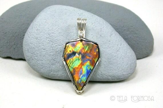 Spectrolite Pendant like Labradorite Rare Pattern Fall Colors BRIGHT Sterling Silver Wire Wrap Wire Wrapped Art Jewelry AAA OOAK Beautiful