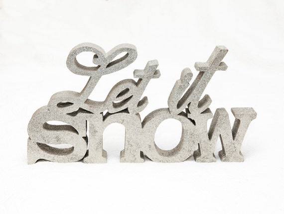 vintage christmas decor let it snow silver glitter With let it snow wooden letters