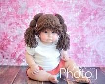 Newborn Photo Prop,Cabbage Patch Doll Hat,Cabbage Patch inspired Hat,Cabbage Patch Wig,Brown Cabbage Patch Hat Wig,Cabbage Patch Hat,Girl