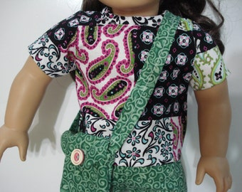 """18"""" Doll Clothes 4 piece outfit top pants purse and headband DYD017"""