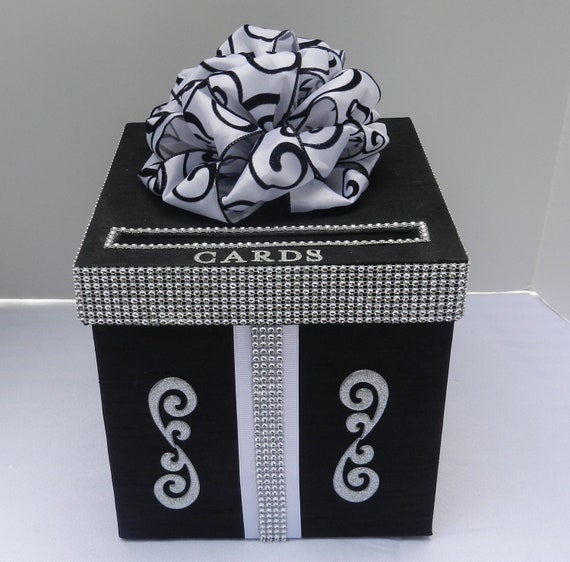 Wedding Card Box  Black and White  Bling Mesh Wrap