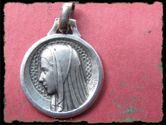 Antique French sterling silver  Virgin Mary medal- religious pendant-