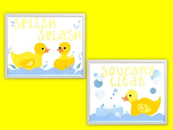 Rubber ducks bath decor ducky nursery wall art 2 8 x 10 for Bathroom duck decor