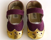 Baby Girl Shoes Burgundy Canvas with Brogued Gold Leather Dress Crib shoes Mary Janes