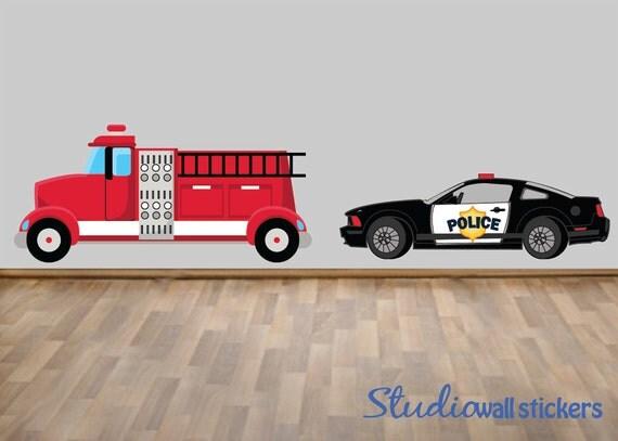 police car firetruck wall decal reusable wall decal red firetruck wall decal firefighter themed boys room