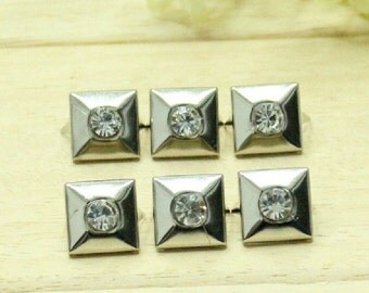 12x12mm 30pcs Pyramid Studs With Rhinestone,Rhinestone Pyramid Studs,Clothing Studs,Bags Studs,Hat studs,Shoes Studs,Clothing Buttons