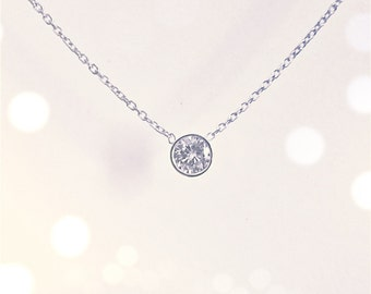 Bezel Set 0.25 ct. Diamond Solitaire Necklace (14k white or yellow gold)