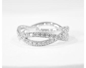 14k Gold Diamond Eternity Infinity Ring (white, yellow, or rose gold)