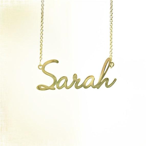14k gold modern nameplate necklace. Black Bedroom Furniture Sets. Home Design Ideas