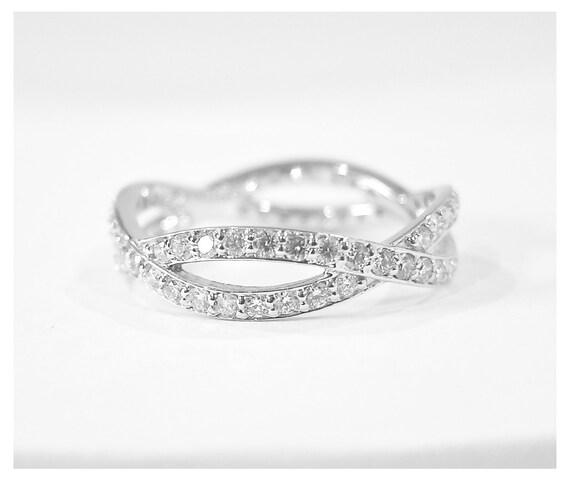 14k Gold Diamond Eternity Infinity Ring white yellow or