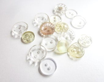 SALE 16 Vintage 1940s Mixed Clear Etched Buttons