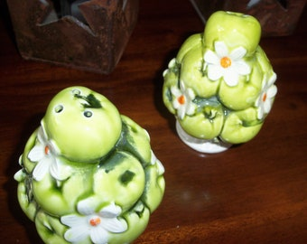 1967 Bright Lime Green Ceramic Salt and Pepper Shakers
