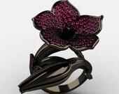 Designer Exclusive 14K Black Gold Pink Sapphire Duchess Trumpet Flower and Vine Ring NN123-14KBGPS