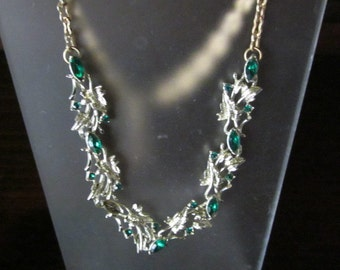 Vintage Silvertone Necklace with Green Stones