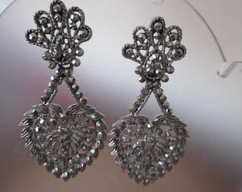 Vintage M. Jent Pierced Dangle Heart Earrings in Silvertone