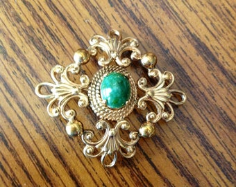 Vintage 12K Gold Filled Brooch or Pendant with Oval Green stone