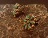 Handcrafted Vintage Zuni Turquoise Ear Rings in Sterling Silver Setting