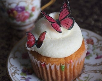 Edible Cake Topper 24 Dark Pink Butterflies