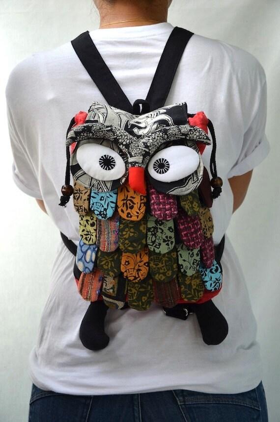 Large - Red Thai Unique Hip Bag Handmade Owl Patchwork Backpack Messenger BP608