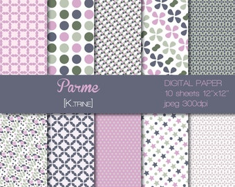 Digital paper of 10 sheets  for scrapbooking, tag, invitation, decoration...