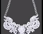 White Lace Bib Statement Necklace - 18 inch