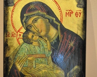 Virgin Mary and Christ, Icon.Unique Religious Art and Gifts for Your Special Ones