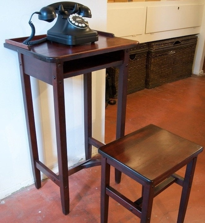 Antique Mahogany Betumal Telephone Stand By Park5vintage