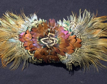 Handmade Chestnut and Gold Pheasant Feather Fascinator or Barrette