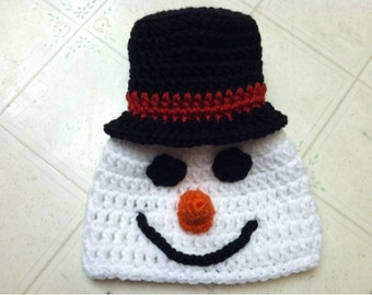 Snowman Hat Crochet Pattern -- Pattern includes sizes Newborn-Adult