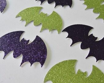 Halloween Bat Cutouts, Purple and Green Glitter Bats, Paper Bat Cutouts, Green and Purple Halloween Decoration Tag Embellishment, Set of 12
