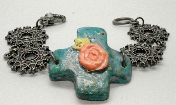 Ceramic Cross and Rose Bracelet in Teal with Antiqued Silver