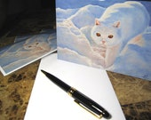 """Cards 5""""x7"""" """"Snow cat"""", set of 4, print from oil painting"""