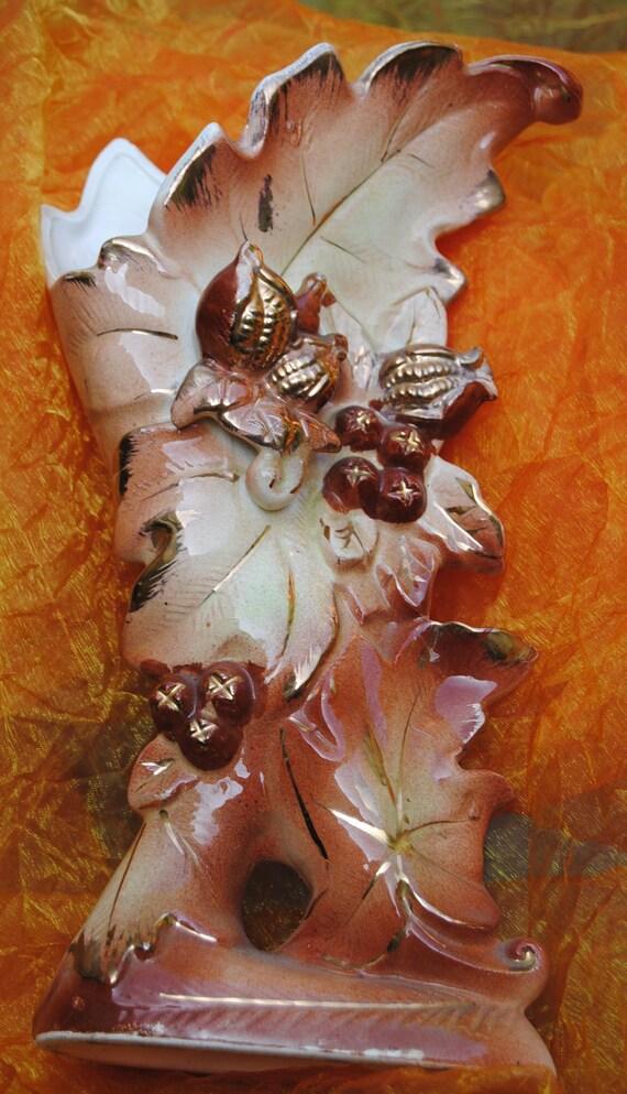 Vintage Japan Vase - Acorns, Berries & Leaves  -hand  Painted  Pottery -1940's - Amazing