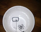Hand Painted Pottery - Modern Flower Cereal Bowl