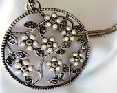 Vintage Monet Necklace Silver Pearl and Marcasite