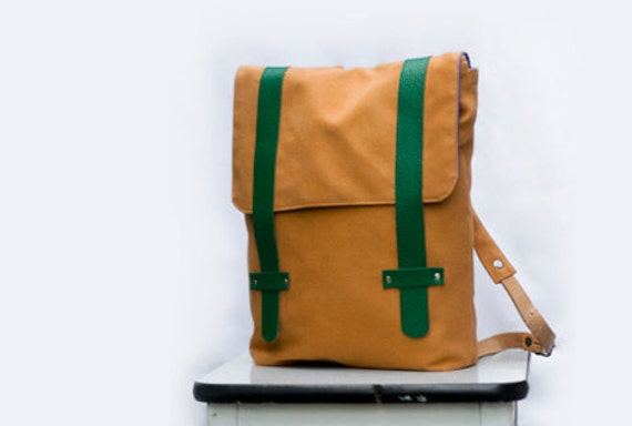 Backpack, orange brown with green leather, blue lining by Frau Licht - Niklas