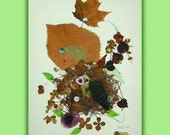 Art Print 005 of Original Collage Floral Luli- Pressed Flower -Floral Art with feathers,sequins,little stars