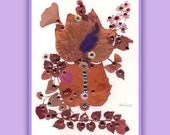 Art Print 026 of Original Collage Floral Luli- Pressed Flower -Floral Art with feathers, sequins