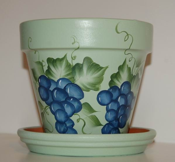 Hand Painted Clay Flower Pot One Stroke Blue Grapes Design 6