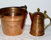 Set of 2 Vintage Copper Bucket and Tea Pot with Black Wrought Iron Handle and Brass Hardware