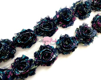PETITE Shabby Rose Trim...Navy Country Floral...Shabby Flowers...Shabby Flower Rose Trim...1 yard...Chiffon Flower...Rose Trim