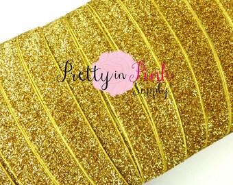 """5/8"""" Gold Glitter Elastic- Elastic  By the Yard- Glitter Elastic- Gold Elastic Glitter- Gold Glitter Elastic- DIY Headband supply shop-"""