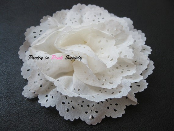 "Chiffon Flower..Large 4""..Eyelet Flowers...Ivory Eyelet Flower..Chiffon Flower..Lace Flower...Hair Bow...Hair Accessories"