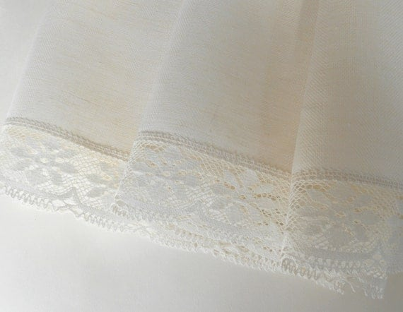 Natural white tablecloth with floral lace edge trim pure linen square table cloth wedding gift