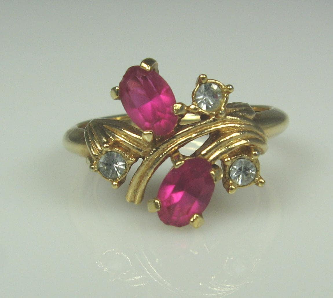 Vintage Avon Pink Clear Rhinestone Ring 5 Adjustable