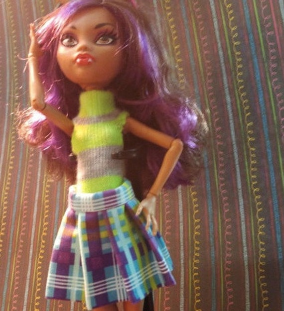 Monster High Purple and Turquoise Pleated skirt with socks and boyshort jumpsuit-for Hodatru